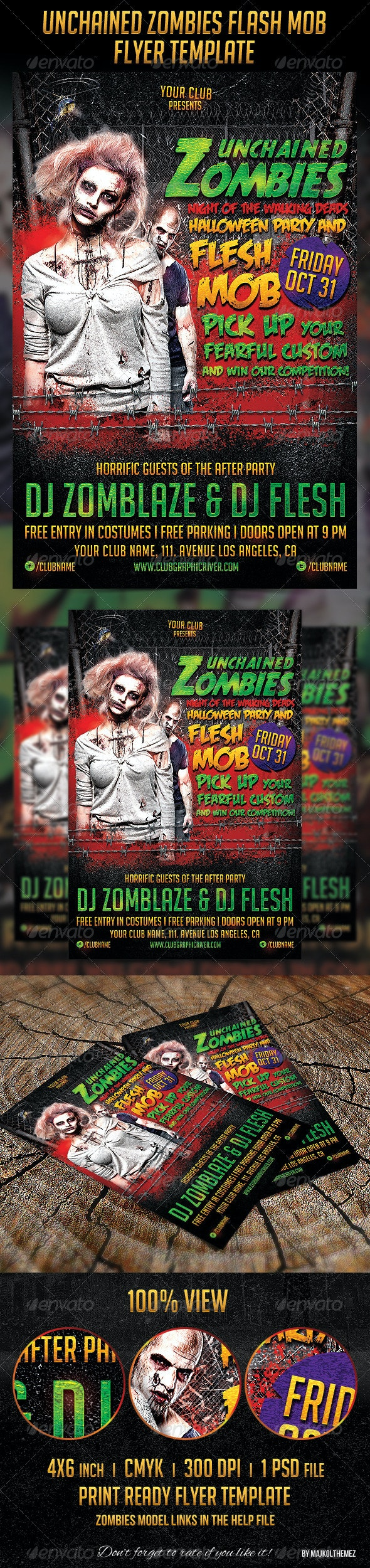 Unchained Zombies Flash Mob Party Flyer - Clubs & Parties Events
