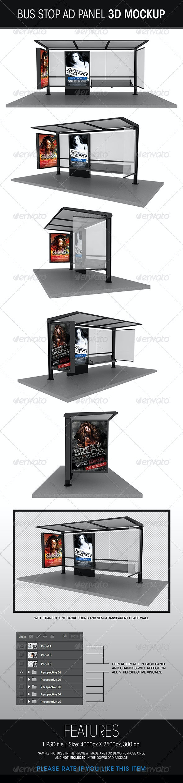 Bus Stop Ad Panel 3D Mockup - Posters Print