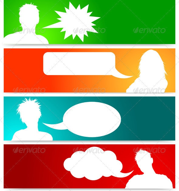 People avatars with speech bubbles - People Characters
