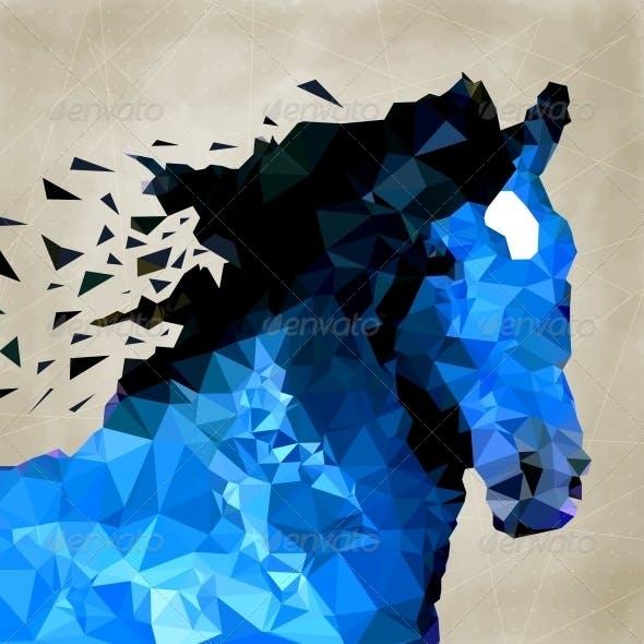 Abstract Horse of Geometric Shape Symbols