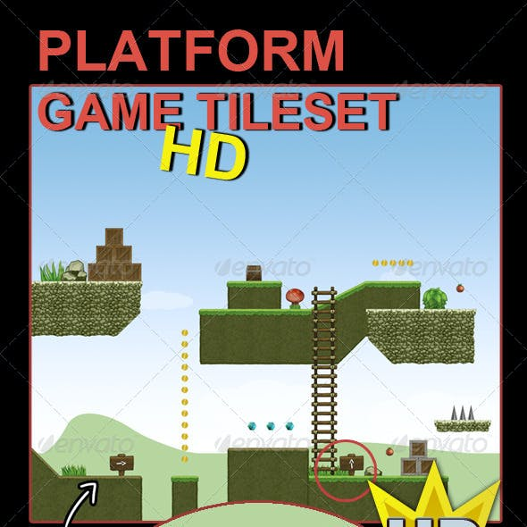 Platform Game Tileset HD