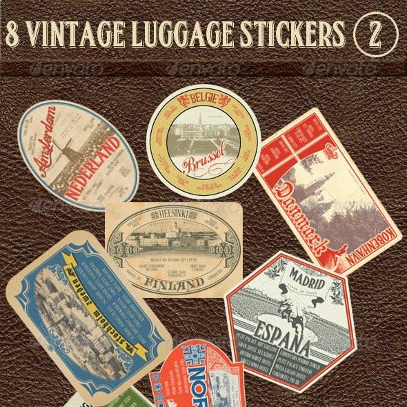 8 Vintage Luggage Stickers 2
