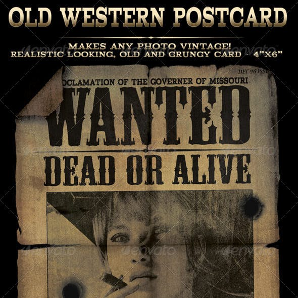 "Easy to use Old Western ""Wanted"" Postcard in 4x6"