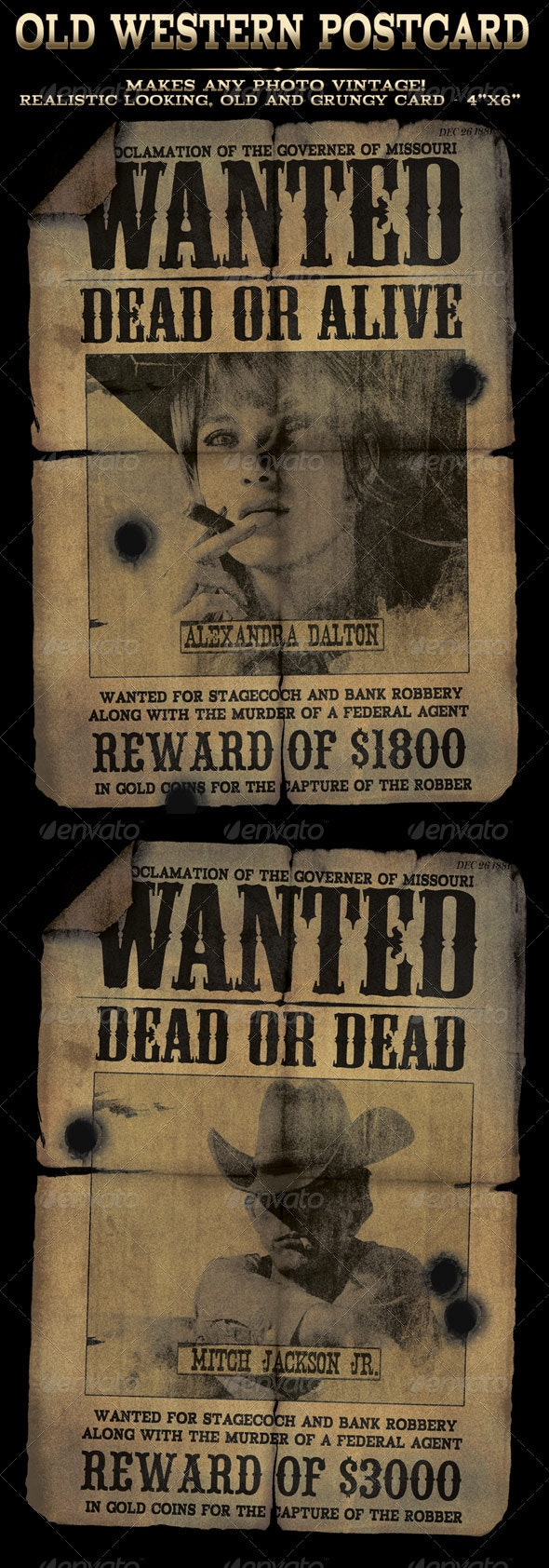 "Easy to use Old Western ""Wanted"" Postcard in 4x6 - Print Templates"