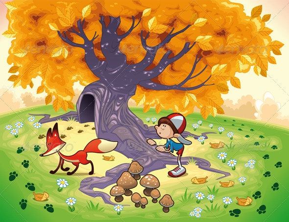 Boy and Fox in the wood. - Animals Characters