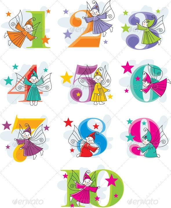 Set number cartoon collection with elves - Decorative Symbols Decorative