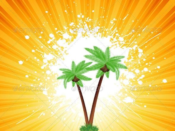 Grunge Palm Trees Background - Landscapes Nature