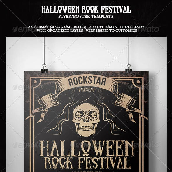 Halloween Rock Festival Flyer Template