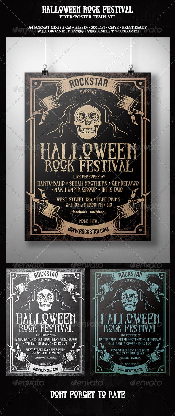 Halloween Rock Festival Flyer Template - Concerts Events