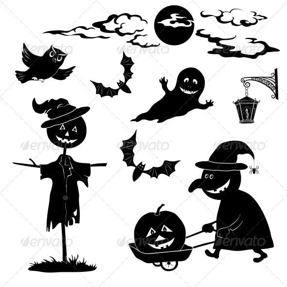 Halloween Cartoon, Set Black Silhouette