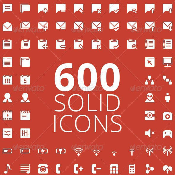 600 Solid Vector Icons