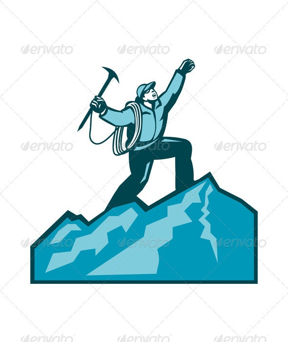 Mountain Climber Summit Retro - Sports/Activity Conceptual