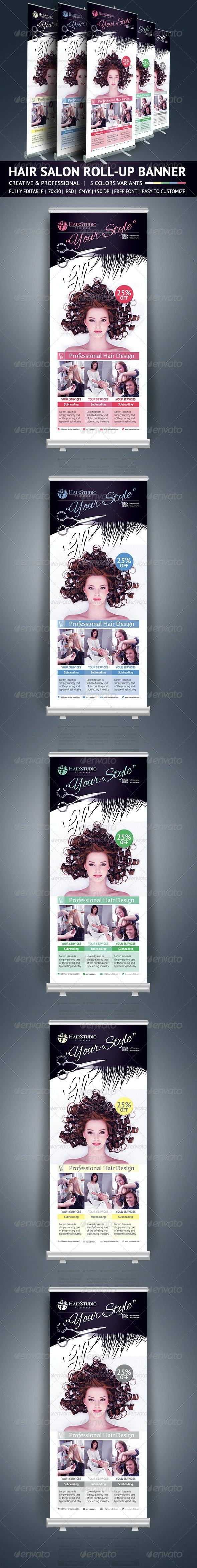 Hair Salon Roll Up Banner  - Signage Print Templates
