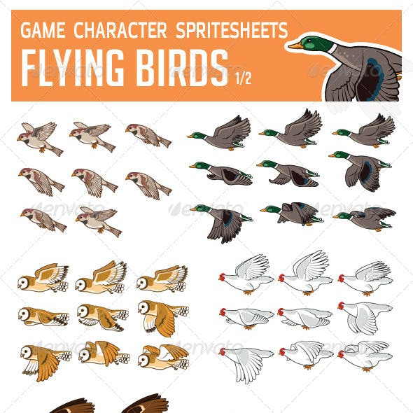 Flying Bird Game Character Sprite