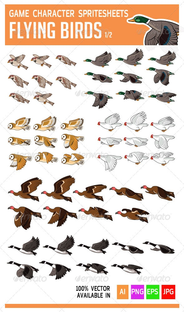 Flying Bird Game Character Sprite - Sprites Game Assets