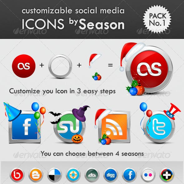 Customizable Season Social Media Icon Pack