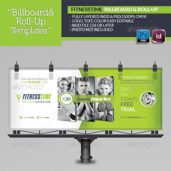 Fitness Time Billboard Roll-Up Template