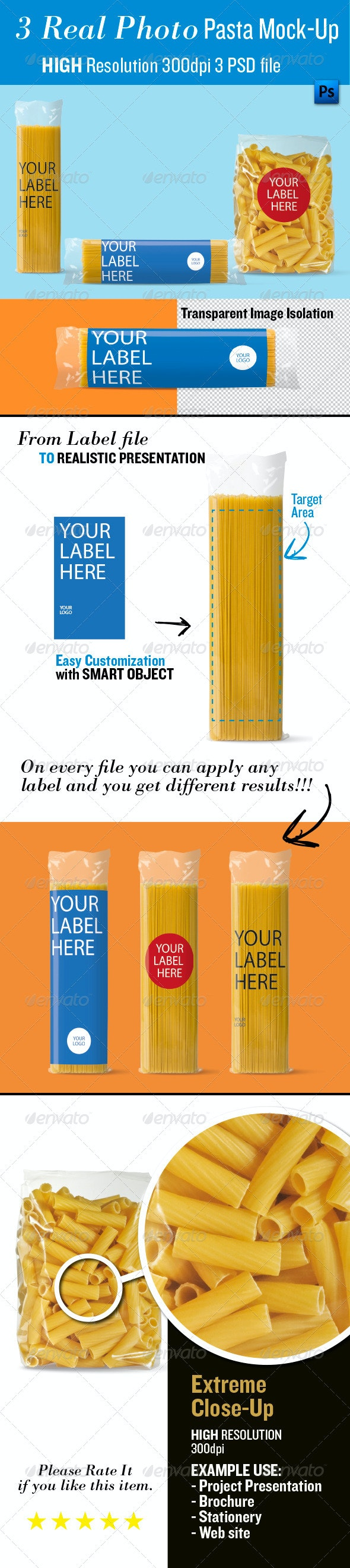 Pasta Mock-Up, Real Photo - Food and Drink Packaging