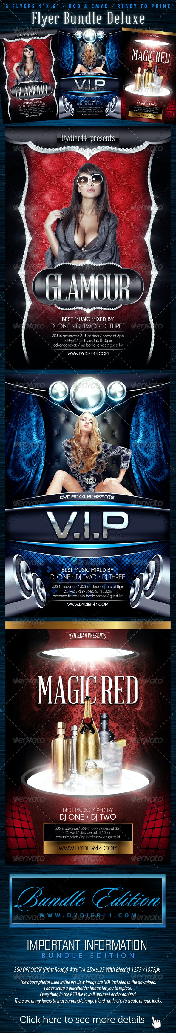 Flyer Bundle Deluxe (Flyer Template 4x6) - Clubs & Parties Events