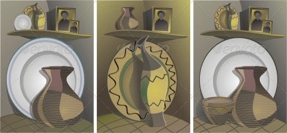 Country Still Life Of Ceramic Dishes. - Objects Vectors