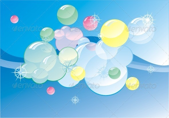 Colorful Soap Bubles On Abstract Gloss Background. - Abstract Conceptual