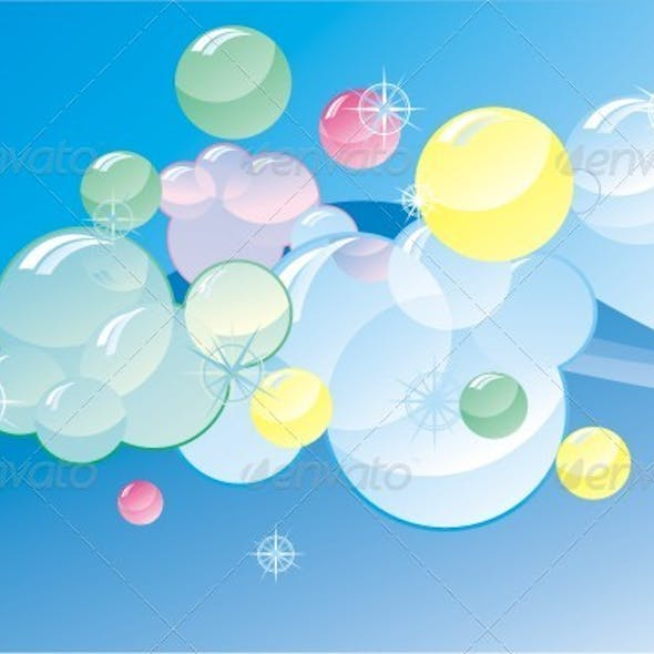 Colorful Soap Bubles On Abstract Gloss Background.