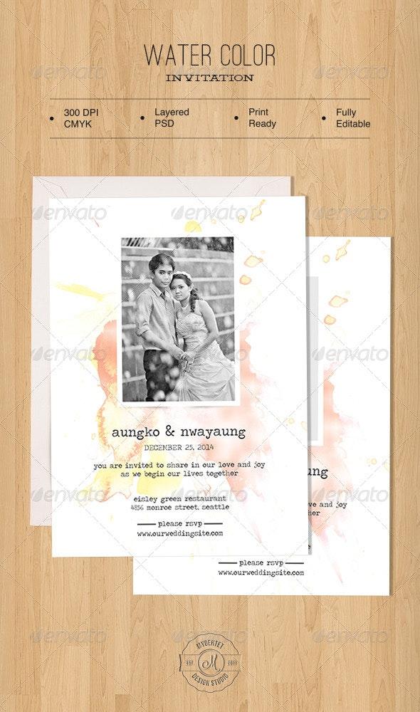 Water Color Invitation - Weddings Cards & Invites