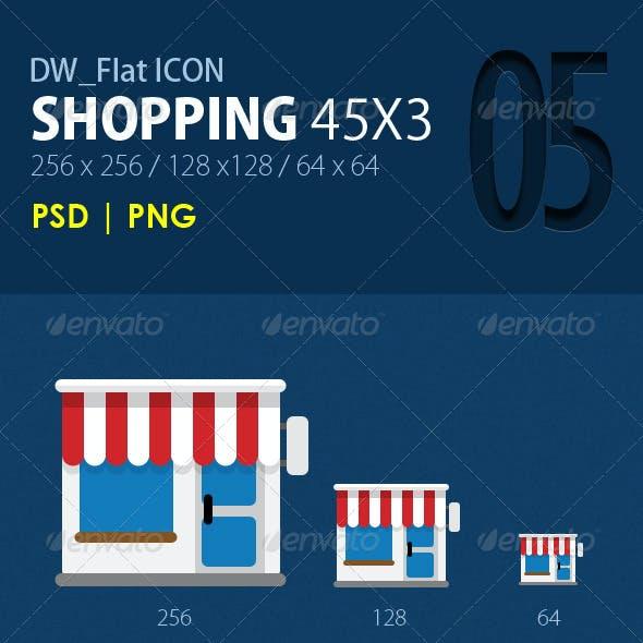45 Flat ICONs (Shopping)