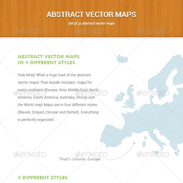 32 Abstract Vector Map Set