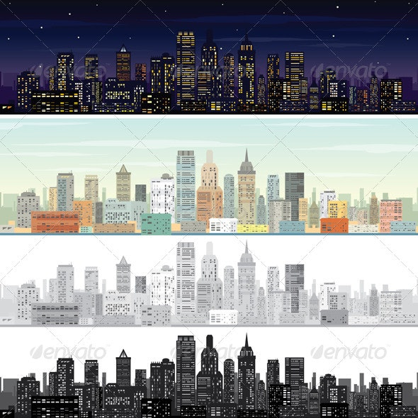City Landscape at Day and Night Time - Buildings Objects