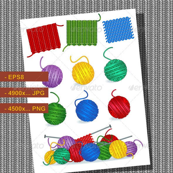 Knitting Craft or Hobby Design Elements