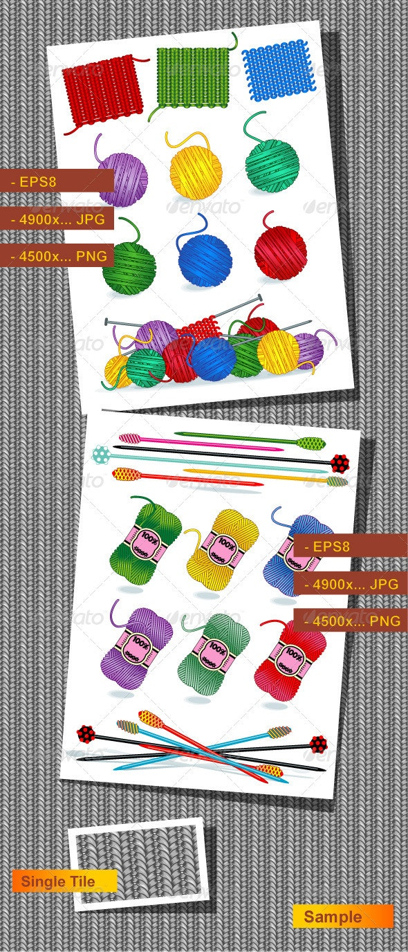 Knitting Craft or Hobby Design Elements - Industries Business