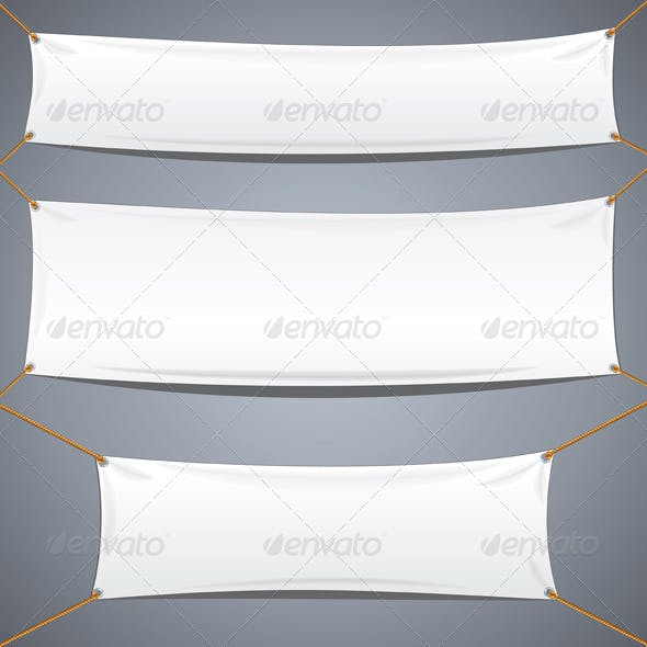 White Textile Banners. Vector Advertising Template