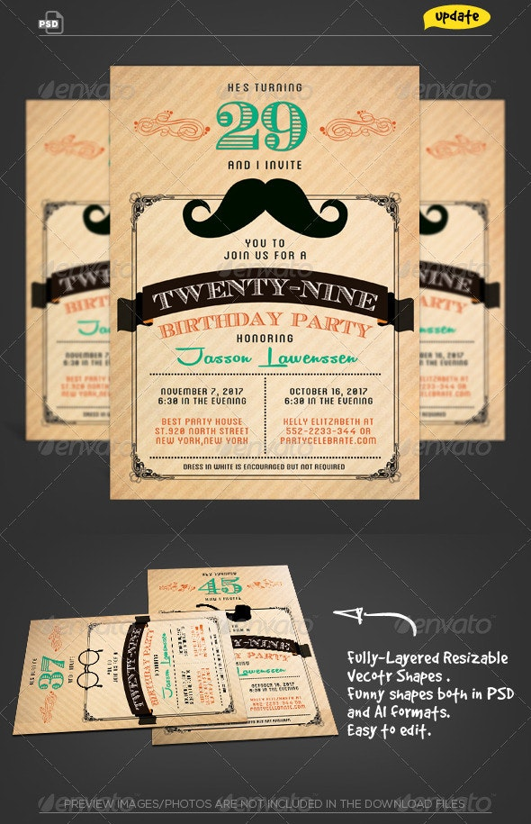 Funny Mustache-Birthday Invitation Card - Birthday Greeting Cards