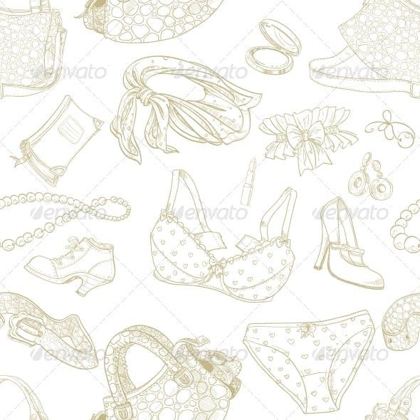 Seamless Pattern of Feminine Fashion Objects