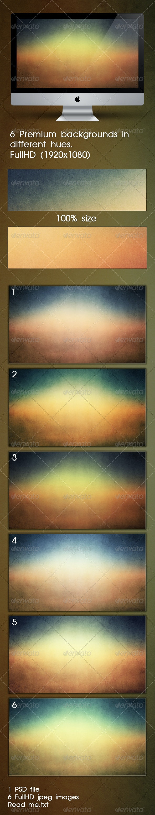 6 Premium Backgrounds In Different Hues - Backgrounds Graphics