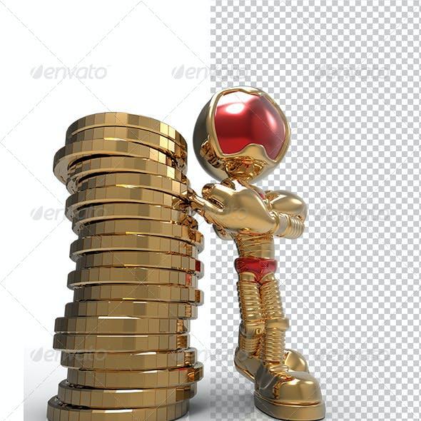 Golden Guy 3D Character Stand Beside Money Coins
