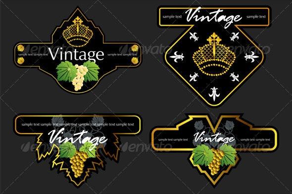 Wiine Labels Design Template Set - Decorative Vectors