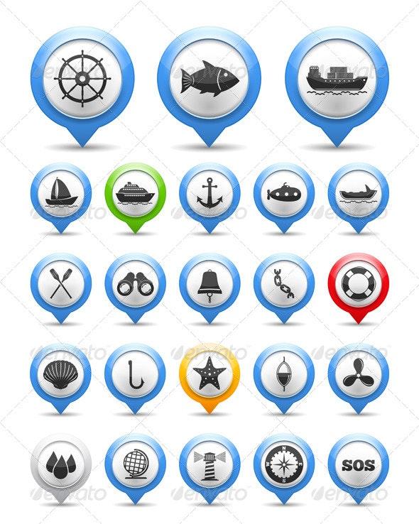 Nautical Icons - Web Elements Vectors