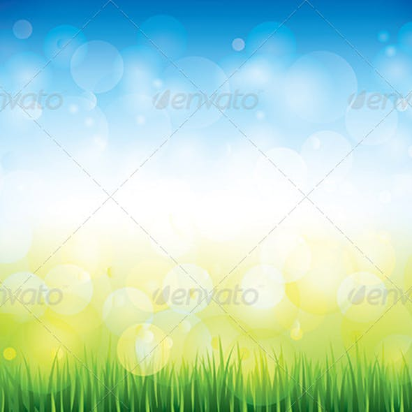 Blue Sky and Grass Background