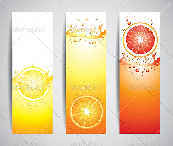 Juicy Citrus Splashes Banners - Food Objects