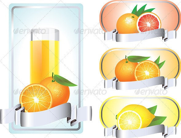 Labels with Citrus Fruits - Food Objects