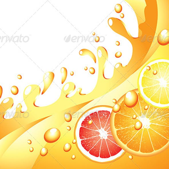 Juicy Citrus Splashes Vector Background