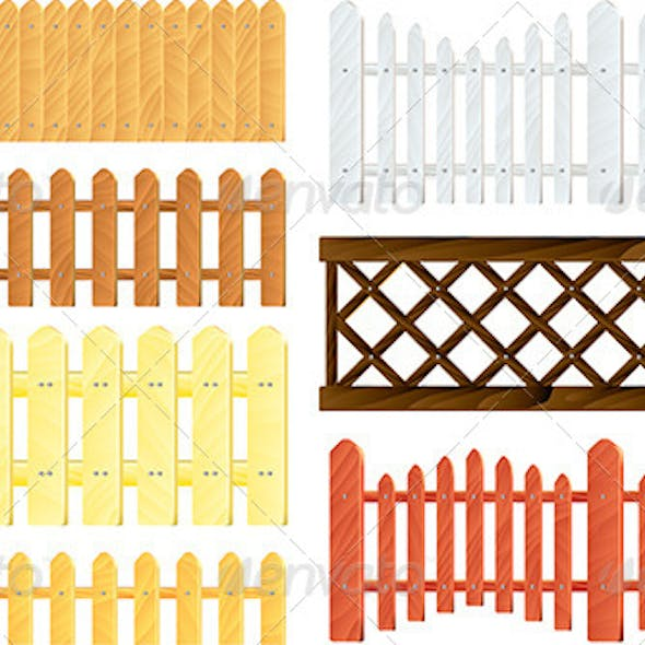 Wooden Fences Vector Set