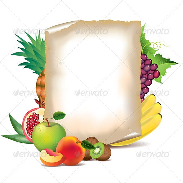 Fruits and Sheet of Paper