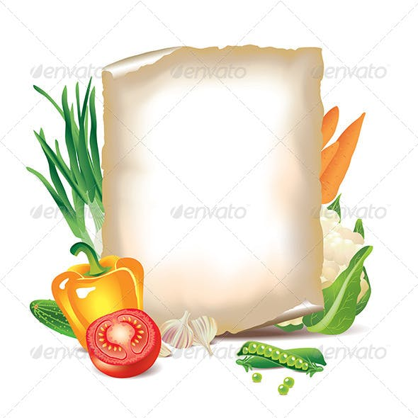 Vegetables and Sheet of Paper