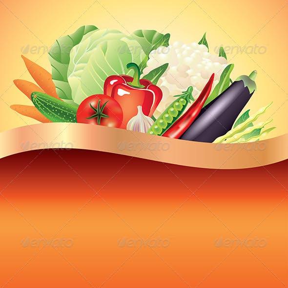 Vegetables Dark Vector Background