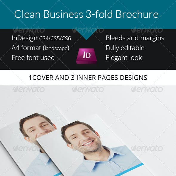 Clean Business Trifold Brochure - InDesign Templat