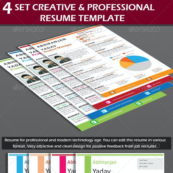 4 Set Creative & Professional Resume Template