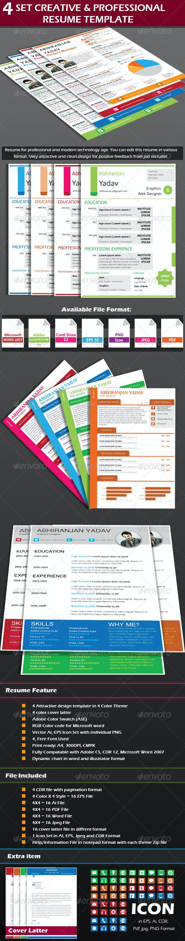4 Set Creative & Professional Resume Template  - Resumes Stationery